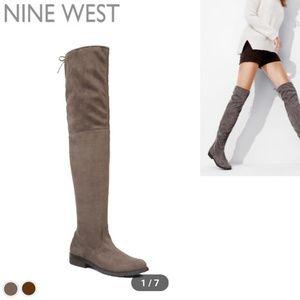 Grey nolita faux suede thigh high drawstring boots